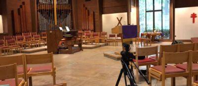 Binkley Memorial Church sanctuary with camera