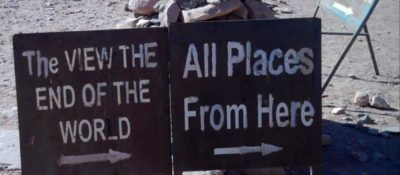Sign photographed near the monastery at Petra represents both the directions to a mountain overlook and my mood after a week of Bible blitzes.