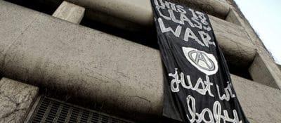 """""""Class War,"""" a banner-drop in Oakland on November 2. By Nathan Jongewaard."""
