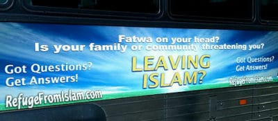 'Fatwa on your head?' Anti-Islam ad seen on side of bus on Central Park South.