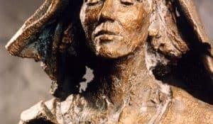 Hildegard von Bingen, bronze statue by Karl-Heinz Oswald, 1998.
