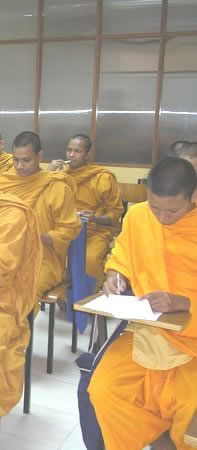 Monks in study hall