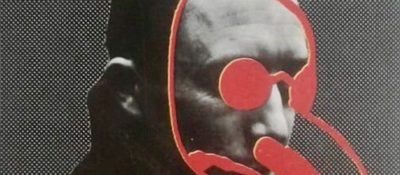 Cover of Albert Camus, The Plague, showing a photo of a man with a red plague mask drawn over his face.