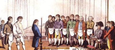 Initiation of an apprentice Freemason around 1800.