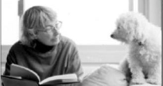 Mary Oliver and her dog, Perry. Photograph by Rachel Brown.