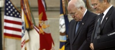 Donald Rumsfeld and Dick Cheney at prayer
