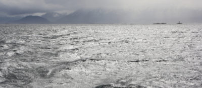 Clouds and light facing west down the Beagle Channel. Photo by author.